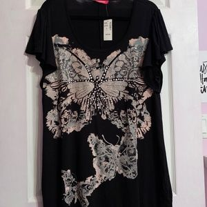 Black T-Shirt with Butterfly Decal